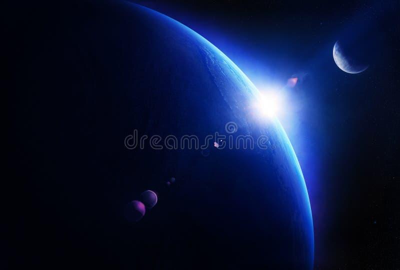 Восход солнца земли с луной в космосе иллюстрация штока