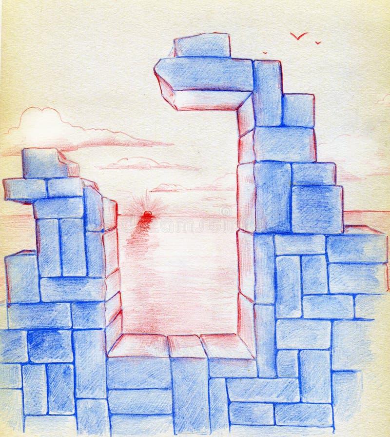 Восход солнца и руины иллюстрация вектора