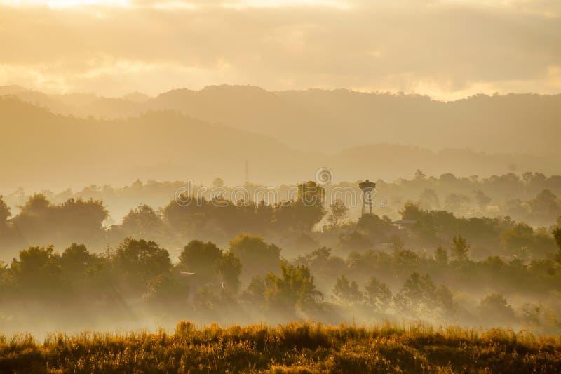 Восход солнца и туман Таиланд стоковые изображения rf