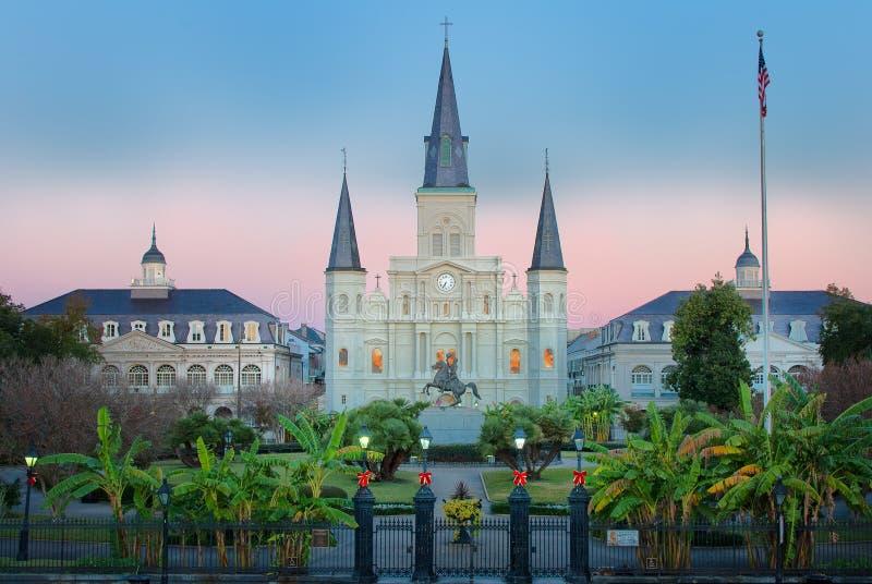 Восход солнца квадрата Нового Орлеана Джексона стоковое фото rf