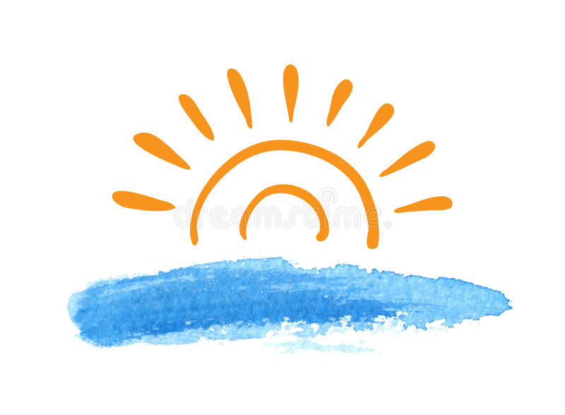 Восход солнца над водой, вектор иллюстрация вектора