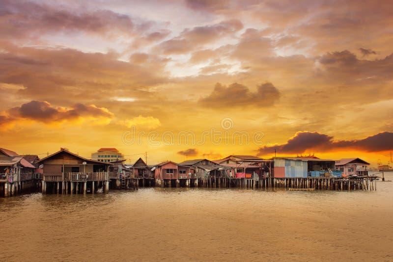 Восход солнца над молой жевания в Penang стоковое изображение rf