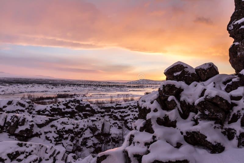 Восход солнца на национальном парке Thingvellir стоковые изображения rf