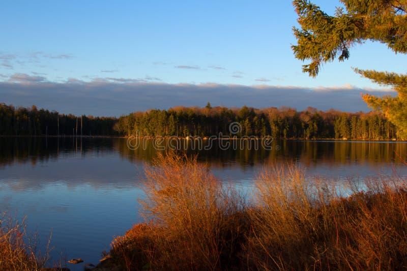 Восход солнца на озере чайка стоковая фотография