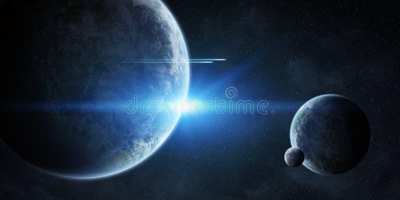 Восход солнца над планетами в космосе иллюстрация штока