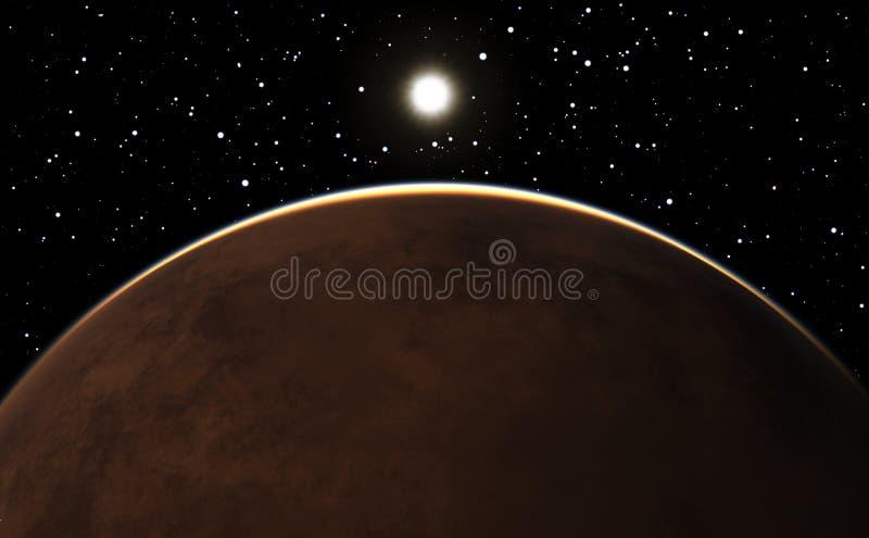 Восход солнца над планетой Марсом бесплатная иллюстрация