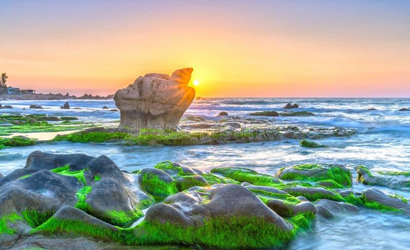 Восход солнца над старым ископаемым рифом стоковые фотографии rf