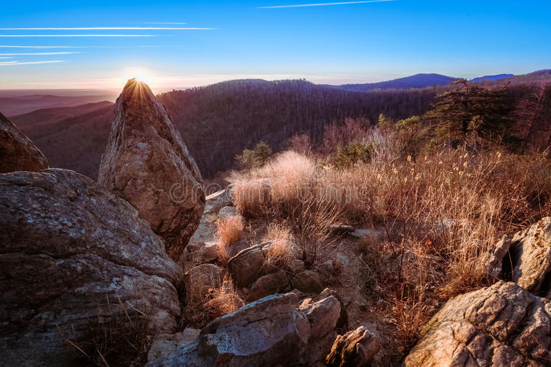 Восход солнца на Shenandoah стоковое фото rf