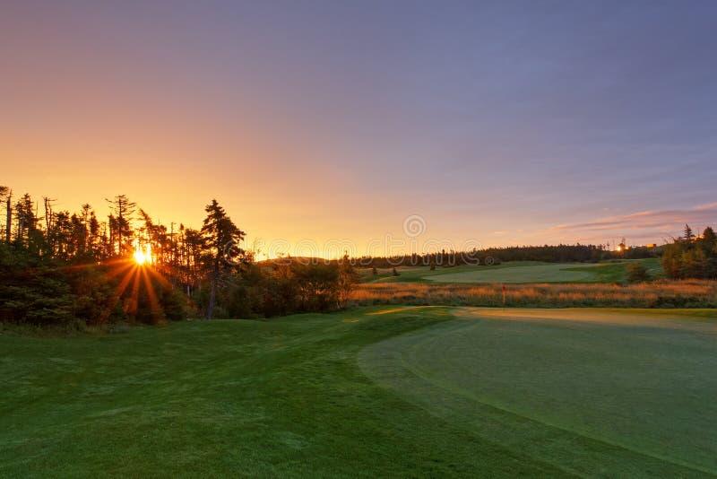 Восход солнца поля для гольфа стоковая фотография rf