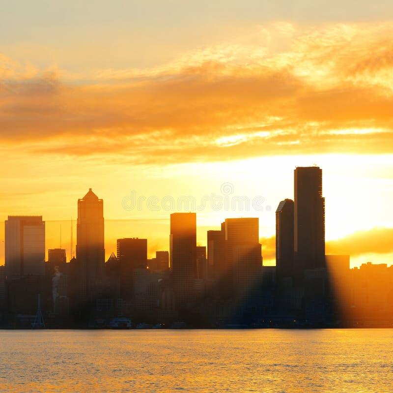 Восход солнца Сиэтл стоковые фотографии rf