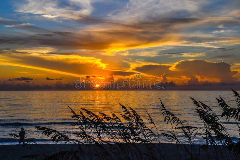 Восход солнца с овсами моря на переднем плане стоковые изображения rf