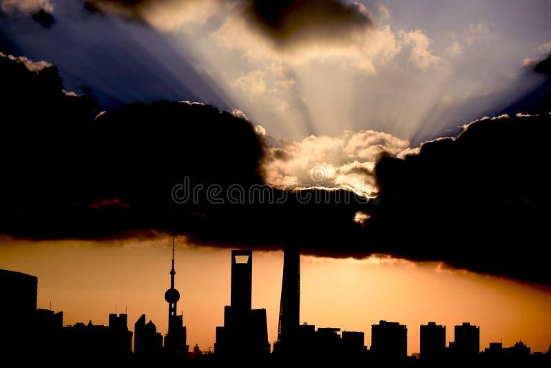 Восход солнца Шанхай стоковые изображения