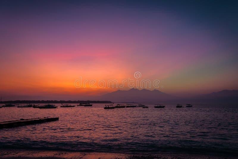 Восход солнца Gili trawangan стоковое изображение rf