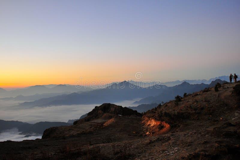 Восход солнца Minya Konka с морем облаков стоковое изображение rf