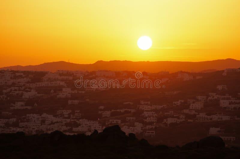 Восход солнца Mykonos стоковое фото rf