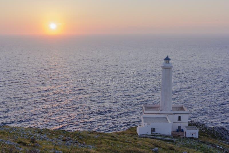 Восход солнца Otranto, маяк Palascia стоковые изображения