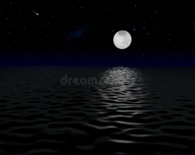 Восход луны на море чужеземца иллюстрация вектора