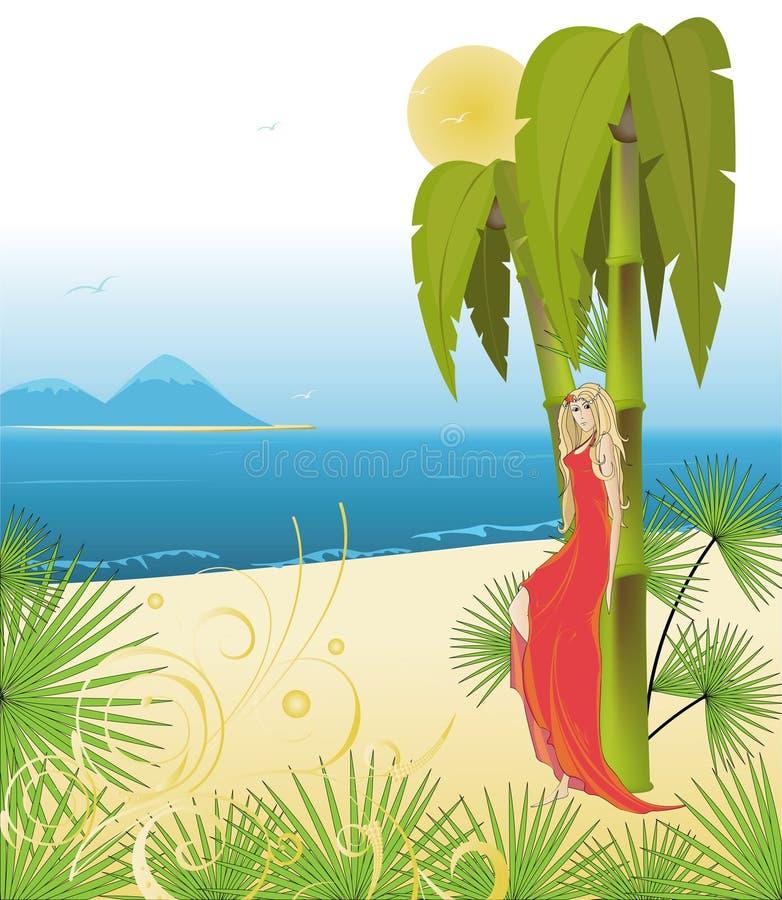 восшхищает белокурый красный цвет океана платья иллюстрация штока