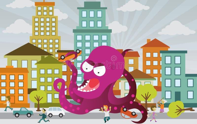 Чужеземец атакует город бесплатная иллюстрация
