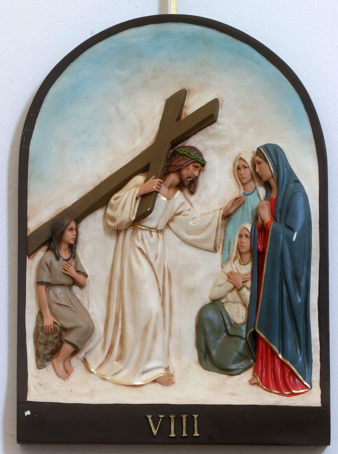 восьмой крестный путь, Иисус встречает дочерей Иерусалима стоковое фото