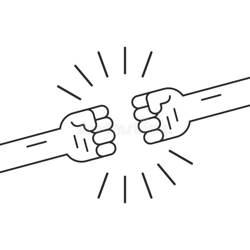 Воюя жест с 2 тонкой линией кулаки бесплатная иллюстрация