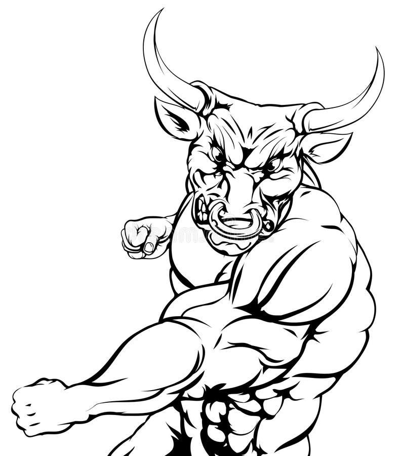 Воюя характер быка резвится талисман бесплатная иллюстрация