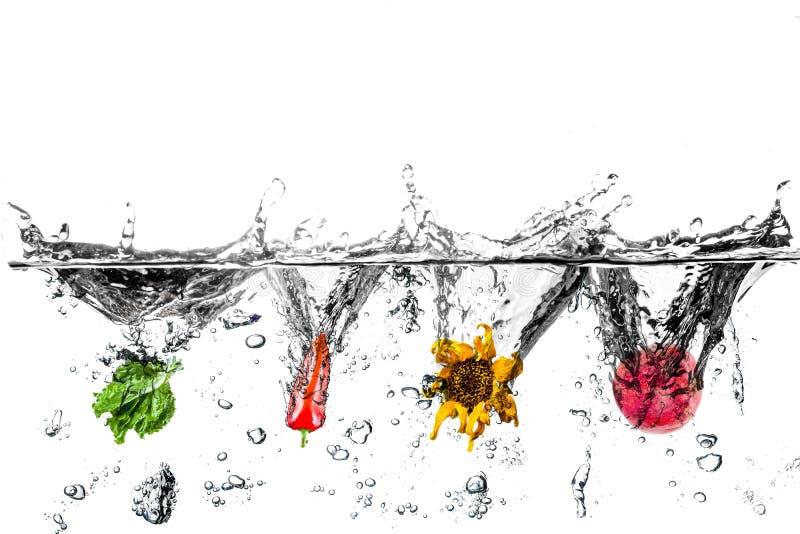 Вода брызгает с салатом, перцем, солнцецветом и венисой стоковое фото rf