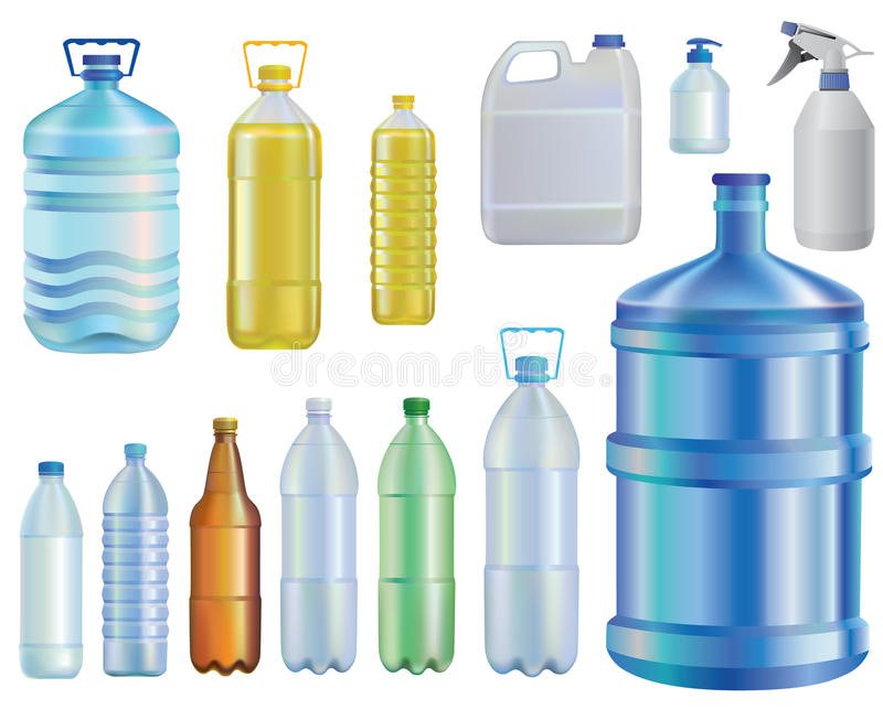 Вода бутылки содержат различный комплект сетки масло Жидкостная емкость мыло Пиво иллюстрация вектора