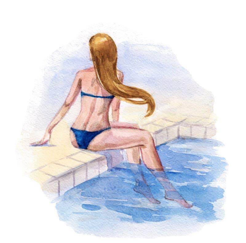 вода зонтиков заплывания бассеина бесплатная иллюстрация