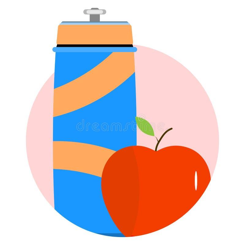 Вода и еда, который нужно резвиться и значок фитнеса иллюстрация штока
