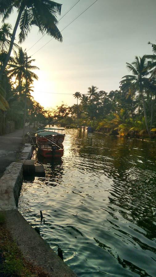 Вода Кералы задняя стоковая фотография rf