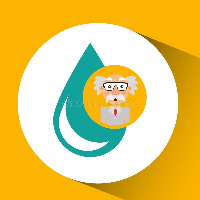 Вода падения концепции химии ученого иллюстрация штока