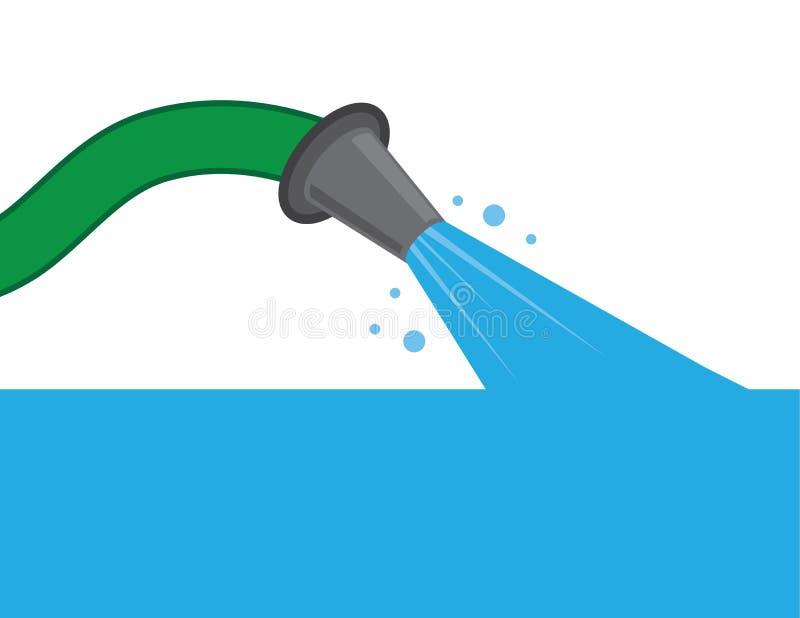 Вода шланга заполняя вверх иллюстрация вектора