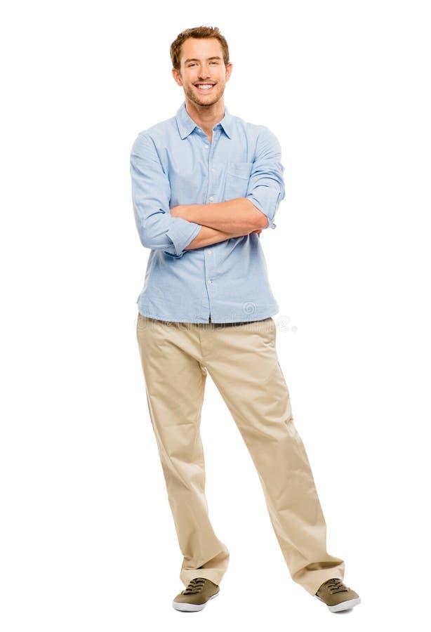 Во всю длину привлекательного молодого человека в bac вскользь одежды белом стоковое изображение rf