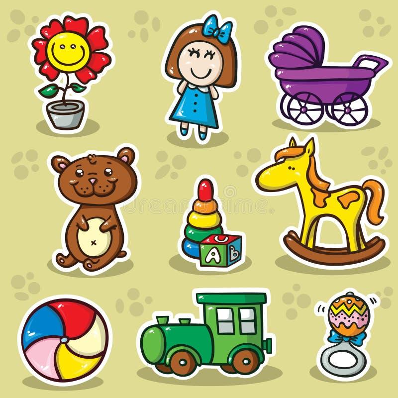Во-вторых установленный игрушек иллюстрация штока