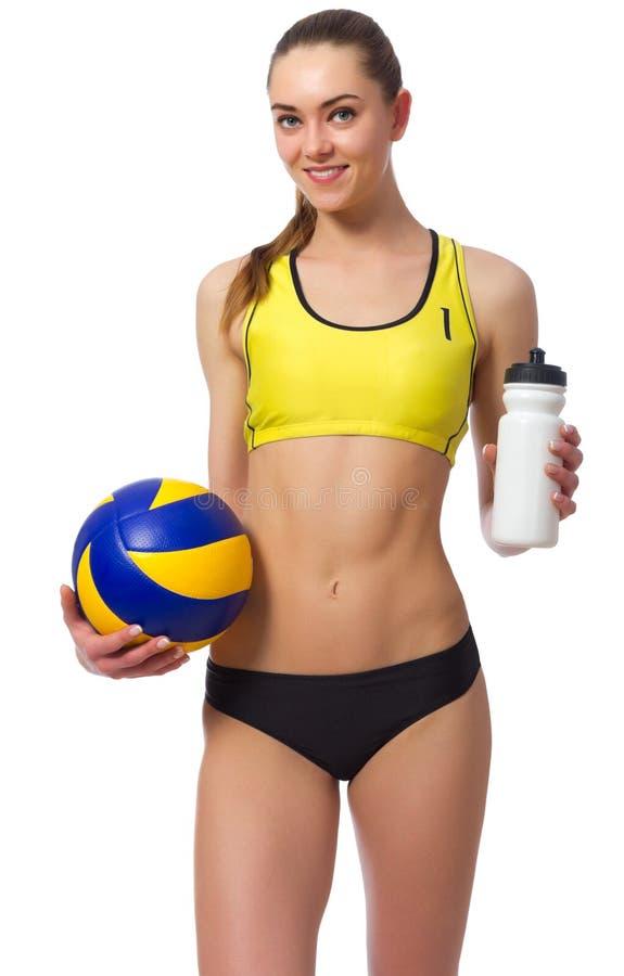 Волейболист пляжа маленькой девочки стоковое фото rf
