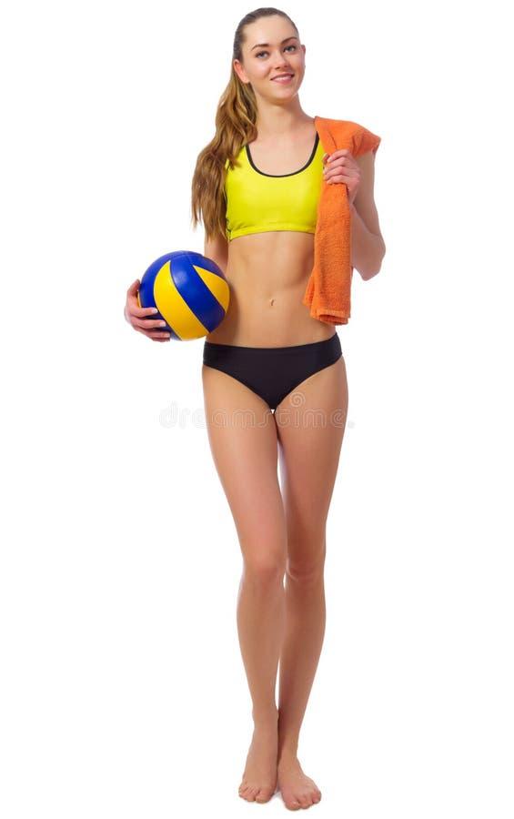 Волейболист пляжа маленькой девочки стоковые фотографии rf
