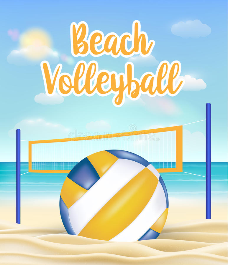 Волейбол и сеть пляжа на море зашкурят пляж бесплатная иллюстрация