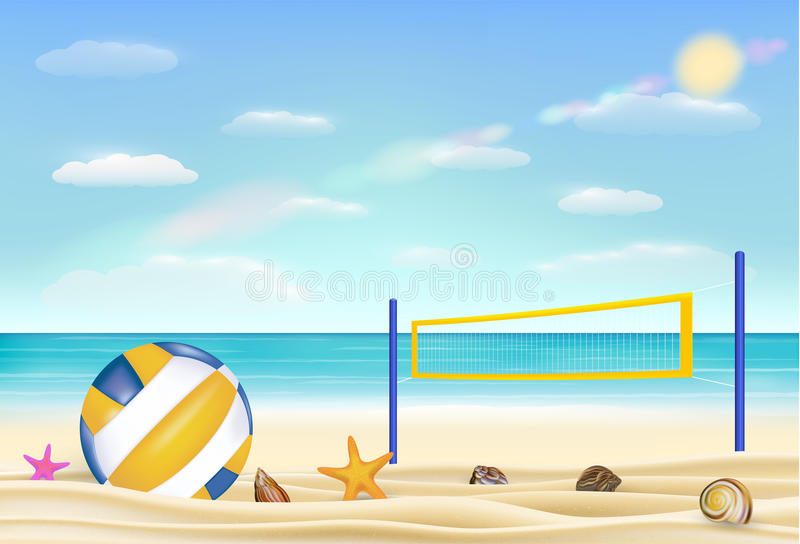 Волейбол и сеть пляжа на песке приставают к берегу с приносят предпосылку неба моря иллюстрация штока