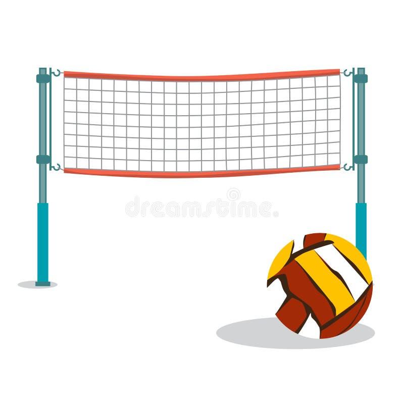 Волейбол пляжа и сетчатый плоский шарж vector иллюстрация бесплатная иллюстрация