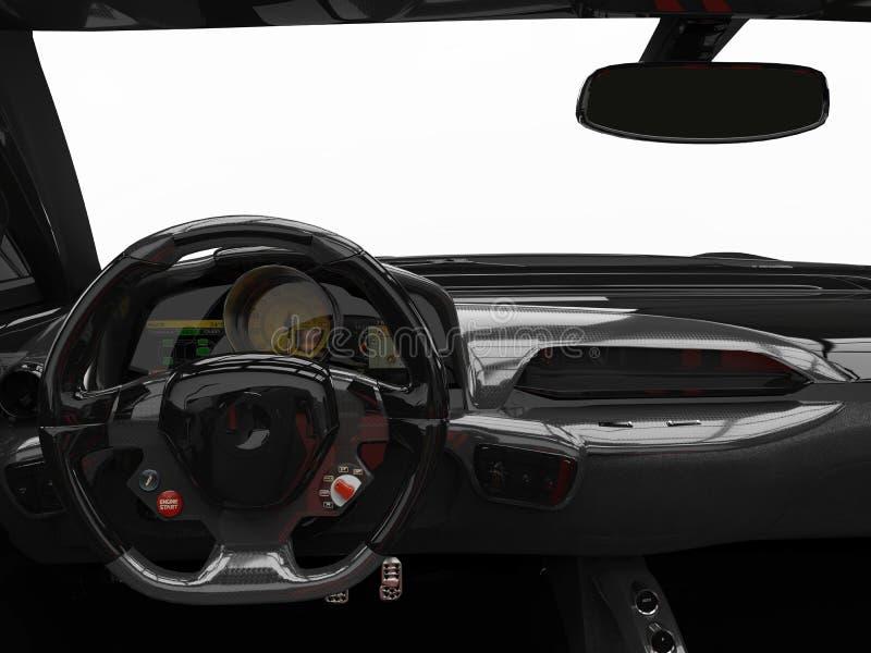 Водители сияющих черных современных обратимых супер спорт автомобильные осматривают съемку иллюстрация вектора