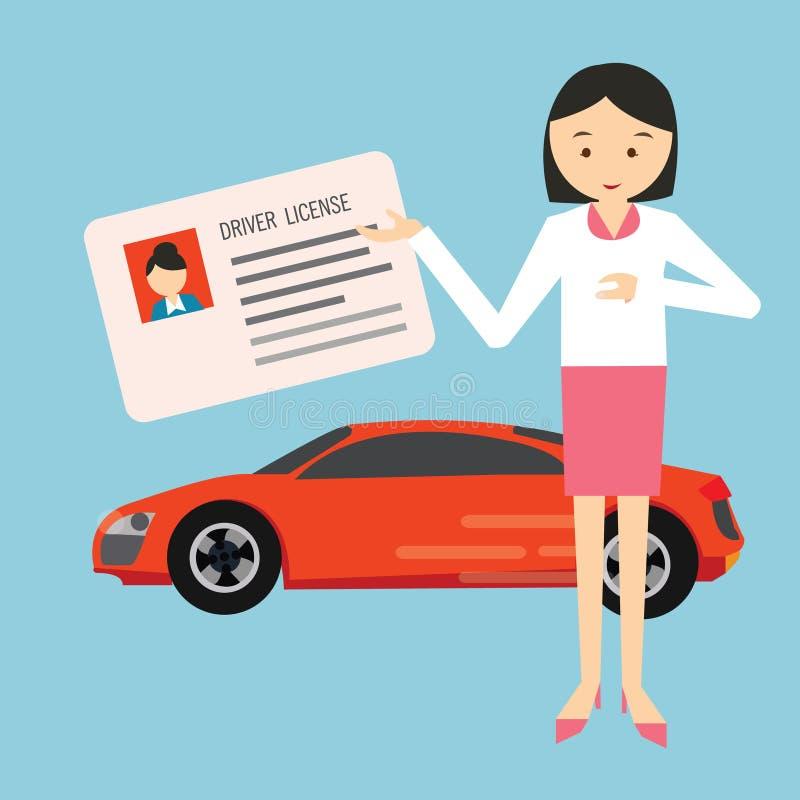 Водительское право водителя выставки удерживания женщины в переднем автомобиле иллюстрация вектора