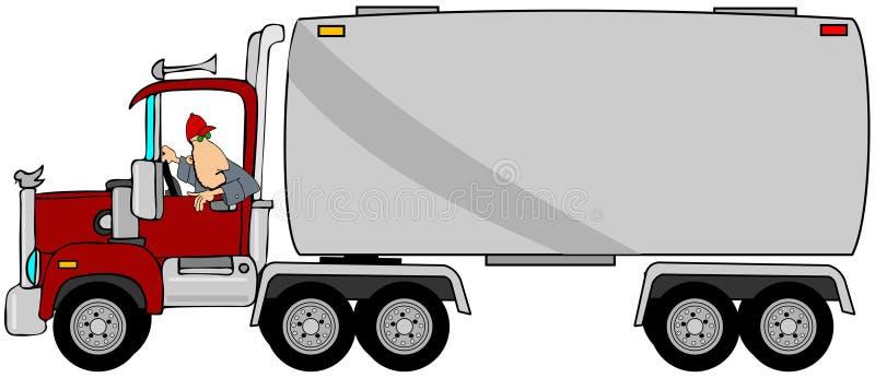 Водитель делать трейлеру топливозаправщика иллюстрация штока