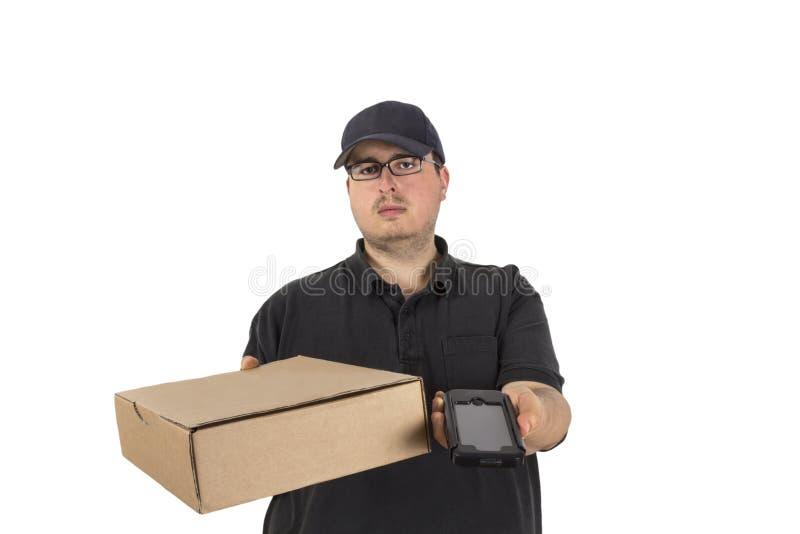Водитель поставки спрашивает, что клиент подписывает стоковые изображения