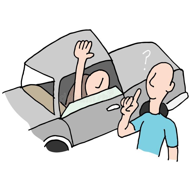 Водитель спрашивая направления иллюстрация вектора