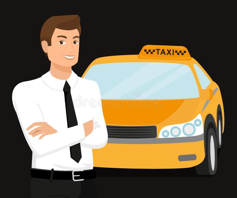 Водитель такси и автомобиль желтого цвета за им иллюстрация вектора