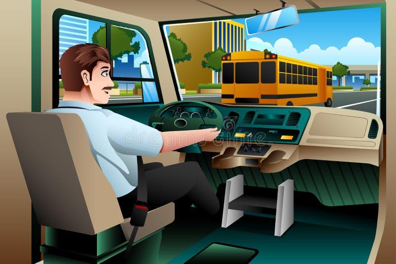 Водитель школьного автобуса управляя шиной иллюстрация штока