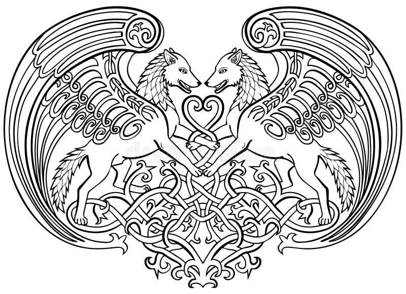Волки Анджела в орнаменте Celtic влюбленности иллюстрация штока