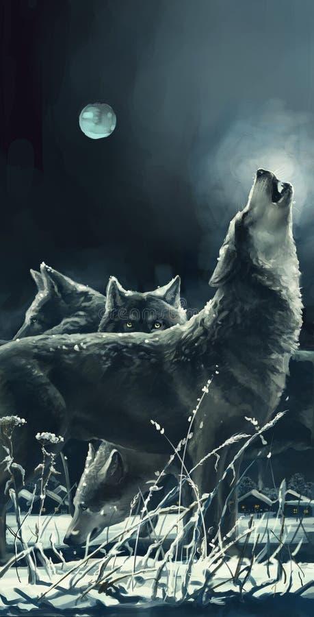 Волки иллюстрация вектора