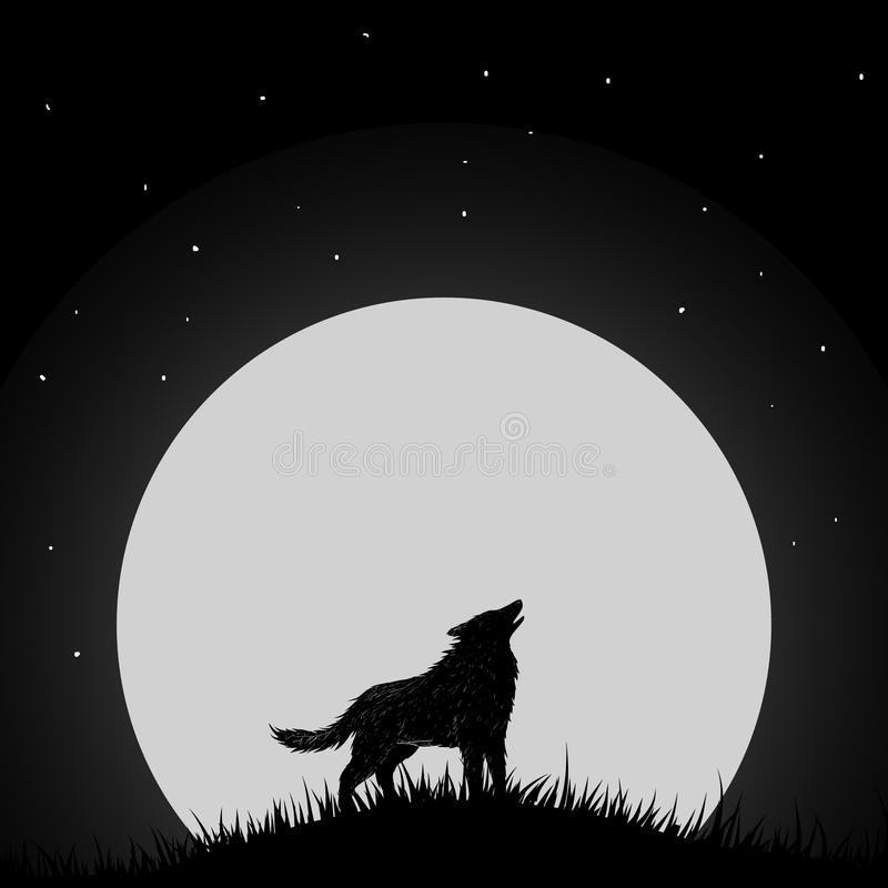 Волк завывая на луне иллюстрация вектора